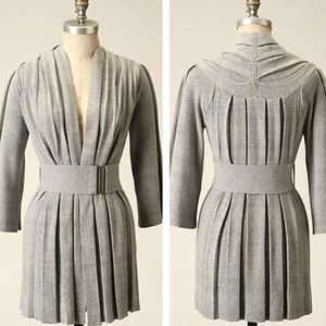 Anthropologie MOTH Gray Belted Pleated Cardigan